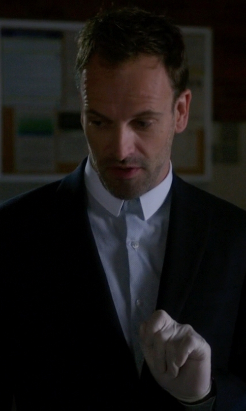 Jonny Lee Miller with Cego Custom Made Contrast Collar Button Shirt in Elementary