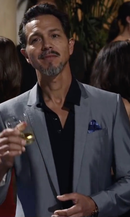 Benjamin Bratt with Eton Of Sweden Twill Solid Slim Fit Dress Shirt in Ride Along 2