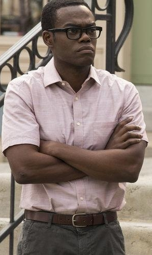 William Jackson Harper with BOSS  Striped Button Down Shirt in The Good Place