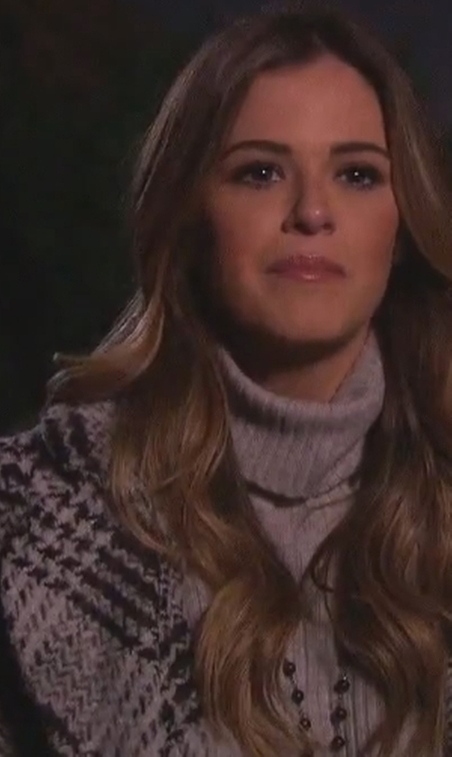 JoJo Fletcher with AMI Clubwear Black Grey Plaid Double Breasted Belted Outerwear in The Bachelorette