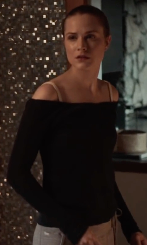 Evan Rachel Wood with L'Agence Cynthia Off Shoulder Top in Into the Forest