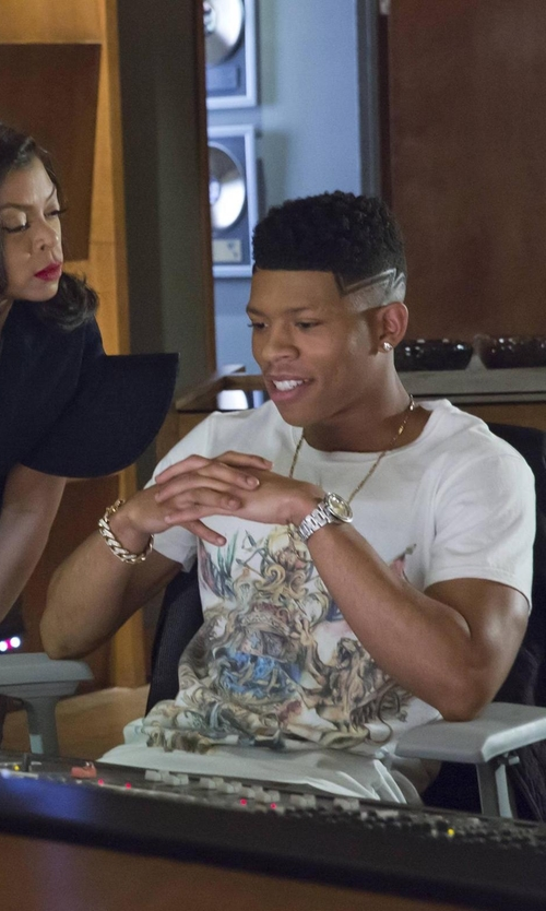 Bryshere Y. Gray with Frost NYC Hollow Yellow Pave Cuban Link Bracelet in Empire