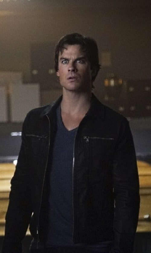 Ian Somerhalder with Andrew Marc Macdougal Leather Jacket in The Vampire Diaries