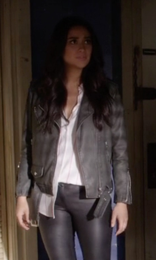 Shay Mitchell with Topshop Oversized Biker Jacket in Pretty Little Liars