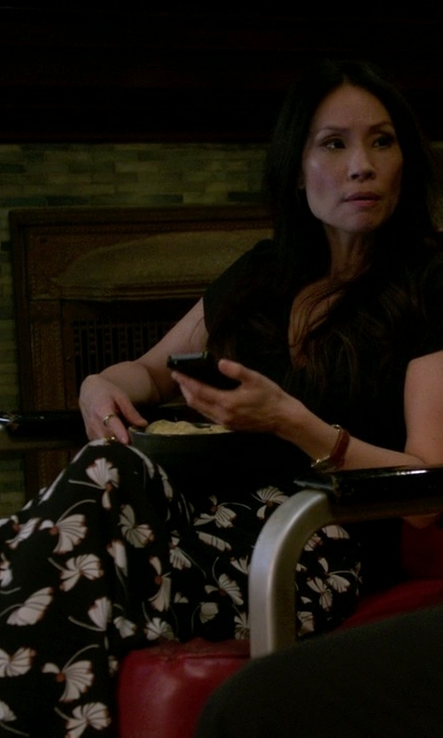 Lucy Liu with Zara Printed Bell Bottom Trousers in Elementary