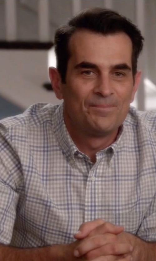 Ty Burrell with Peter Millar 'Nanoluxe' Regular Fit Check Twill Sport Shirt in Modern Family