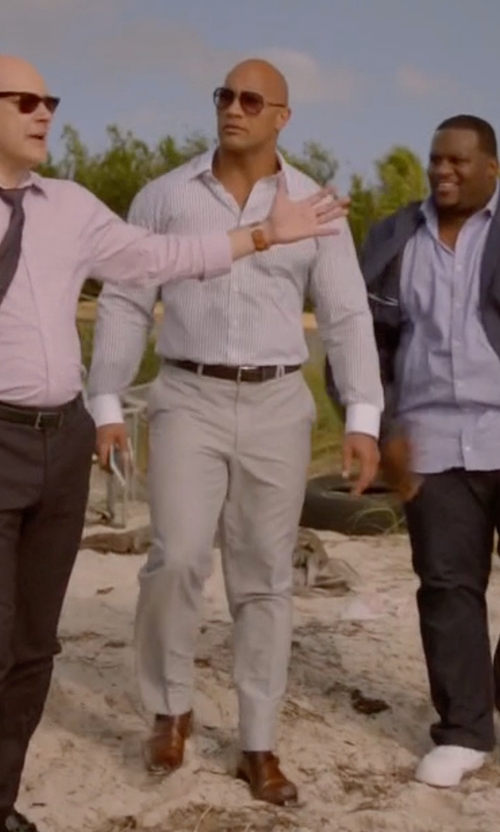 Dwayne Johnson with Bally Lanor Perforated Monk-Strap Dress Shoes in Ballers