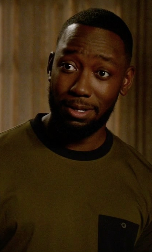 Lamorne Morris with PS Paul Smith Colorblock Pocket T-Shirt in New Girl