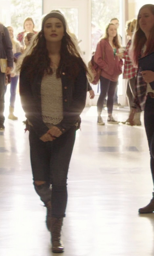 Katherine Langford with Steve Madden Troopa Boots in 13 Reasons Why