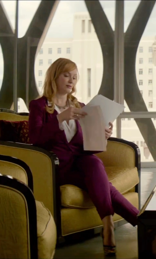 Christina Hendricks with Etro Stand Up Collar Blazer in The Neon Demon