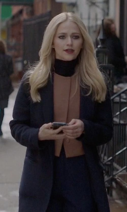 Johanna Braddy with Weekend Max Mara Aldeno Doppio Wool Blend Coat in Quantico