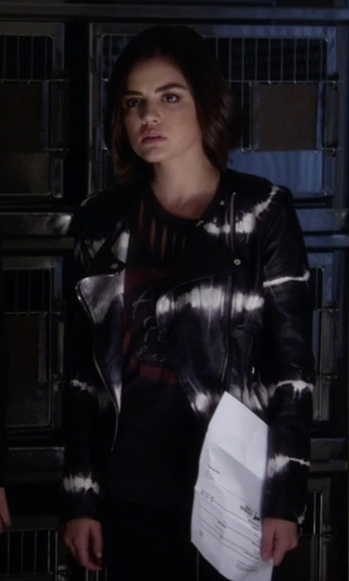 Lucy Hale with Blank NYC Tie-Dye Faux Leather Moto Jacket in Pretty Little Liars