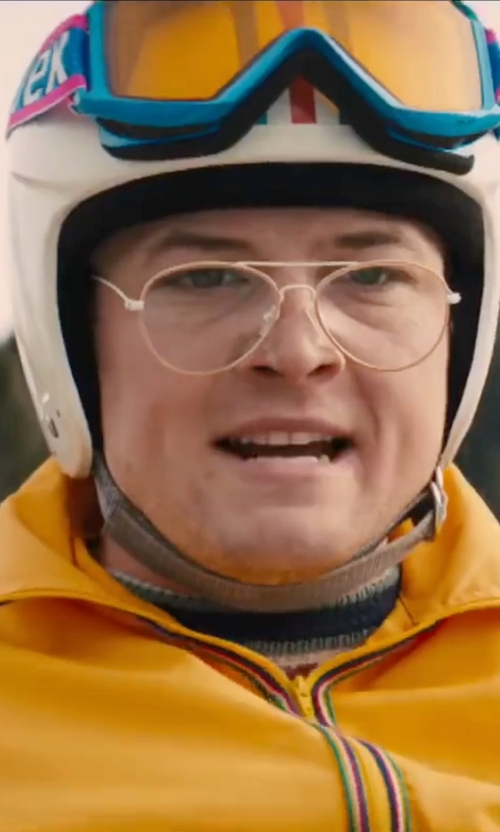 Taron Egerton with Vega Stripe Open Face Helmet in Eddie The Eagle