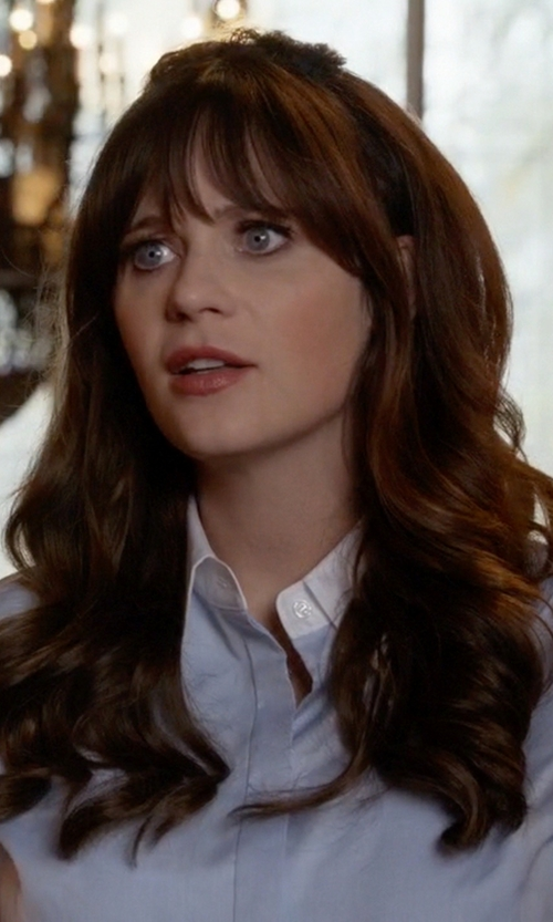 Zooey Deschanel with Effortless Colorblock Kaelyn Shirt in New Girl