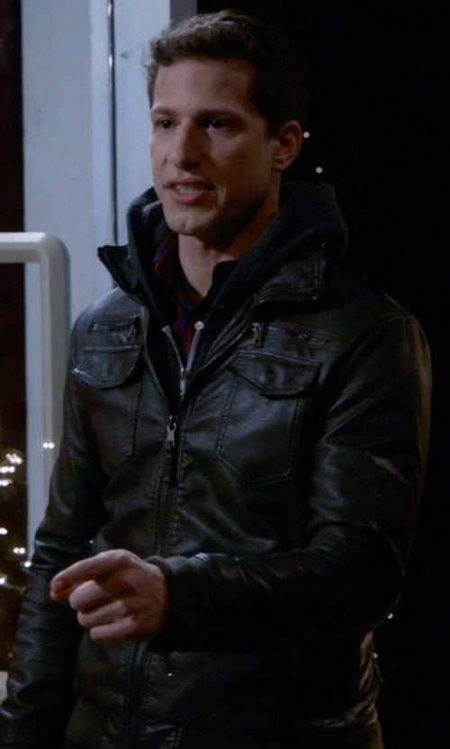 Andy Samberg with Charles & 1/2 Faux-Leather Moto Jacket in Brooklyn Nine-Nine