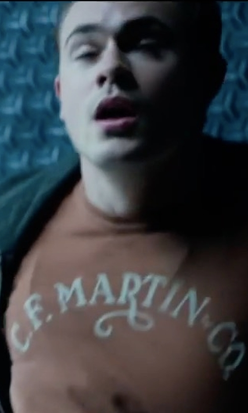 Dacre Montgomery with Lucky Brand C F Martin Co Guitar Classic Logo Short Sleeve T Shirt in Power Rangers
