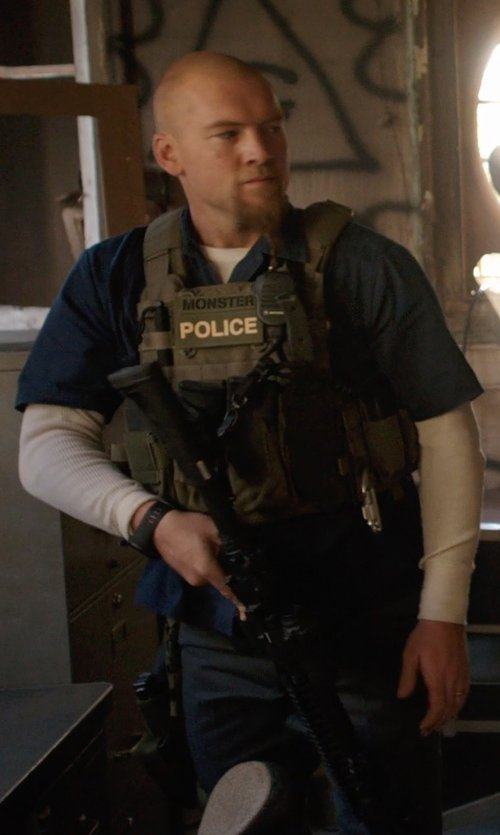 Sam Worthington with galaxyarmynavy Olive Drab - Tactical MOLLE Vital Plate Carrier Vest in Sabotage