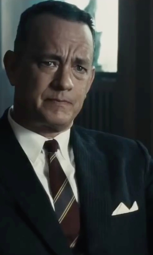 Tom Hanks with Hugo Boss Tonal Stripe Two-Piece Suit in Bridge of Spies