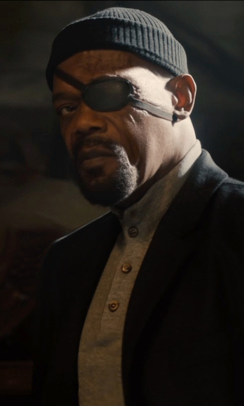 Samuel L. Jackson with Andrew Stewart Rib Knit Wool & Cashmere Beanie in Avengers: Age of Ultron