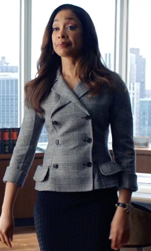 Gina Torres with Boy By Band of Outsiders Checked Blazer in Suits