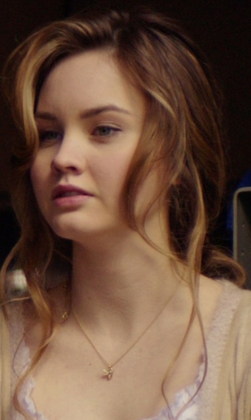 Liana Liberato with Fossil Gold-Tone Crystal Bee Pendant Necklace in The Best of Me
