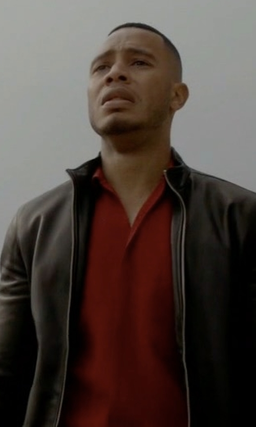 Trai Byers with Hugo Boss Zip-Front Leather Jacket in Empire