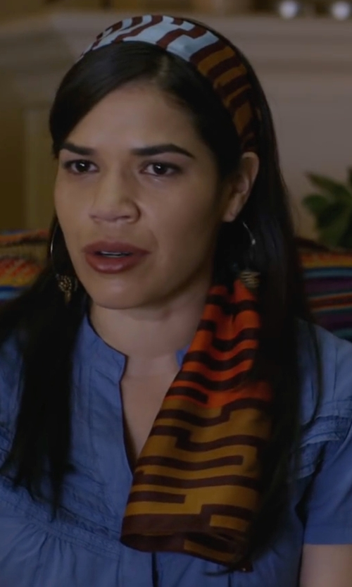 America Ferrera with Echo Design  Women's Optical Stripes Oblong Scarf   in Special Correspondents