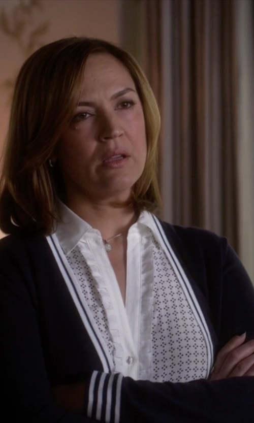 Lesley Fera with Catherine Catherine Malandrino Poe Lace Trim Placket Blouse in Pretty Little Liars