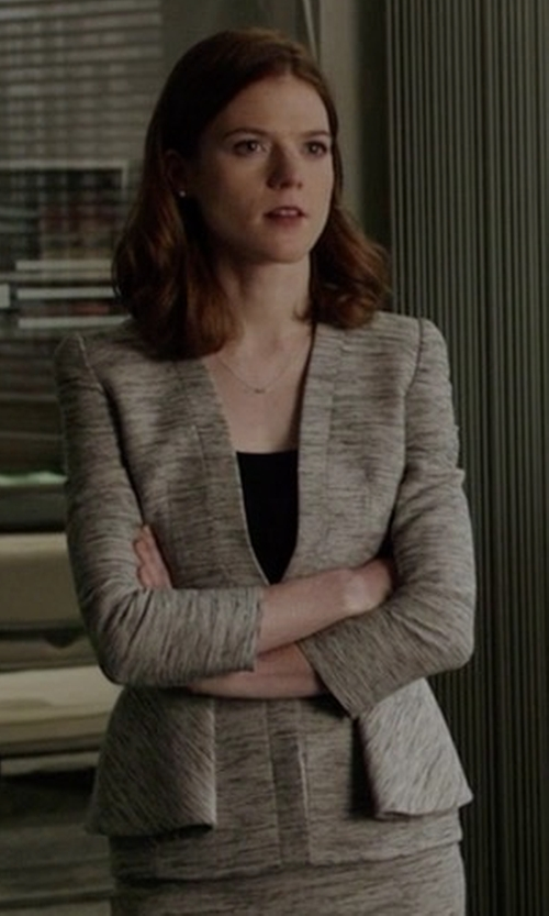Rose Leslie with Alexander McQueen Fold Peplum Jacket in The Good Fight