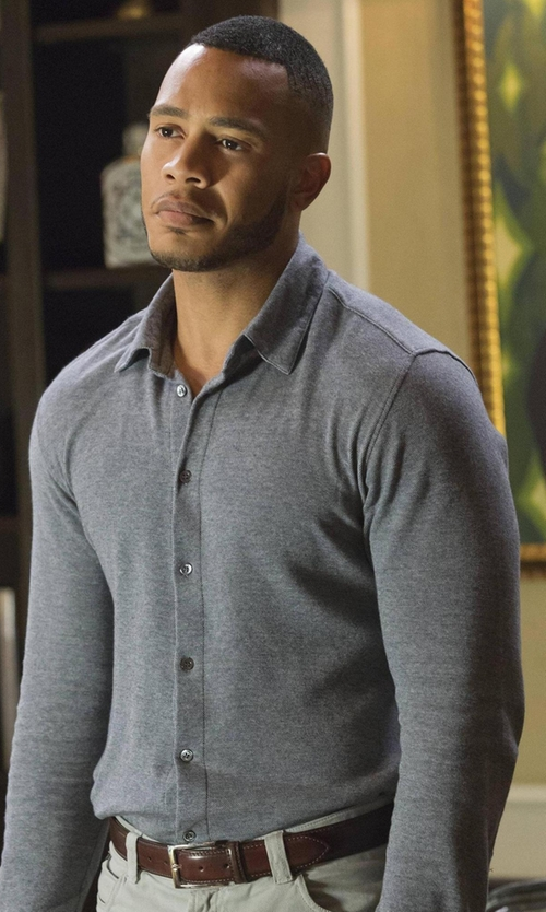 Trai Byers with Brunello Cucinelli Pique Polo Shirt in Empire