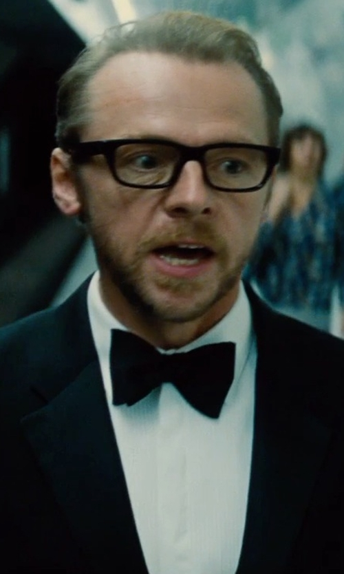 Simon Pegg with Brioni Bib-Front Cotton Tuxedo Shirt in Mission: Impossible - Rogue Nation