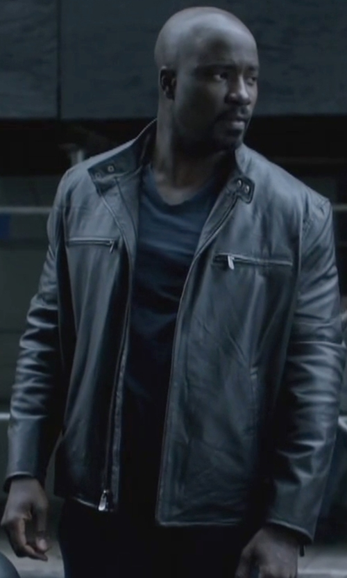 Mike Colter with Andrew Marc Lamb-Leather Moto Jacket in Jessica Jones