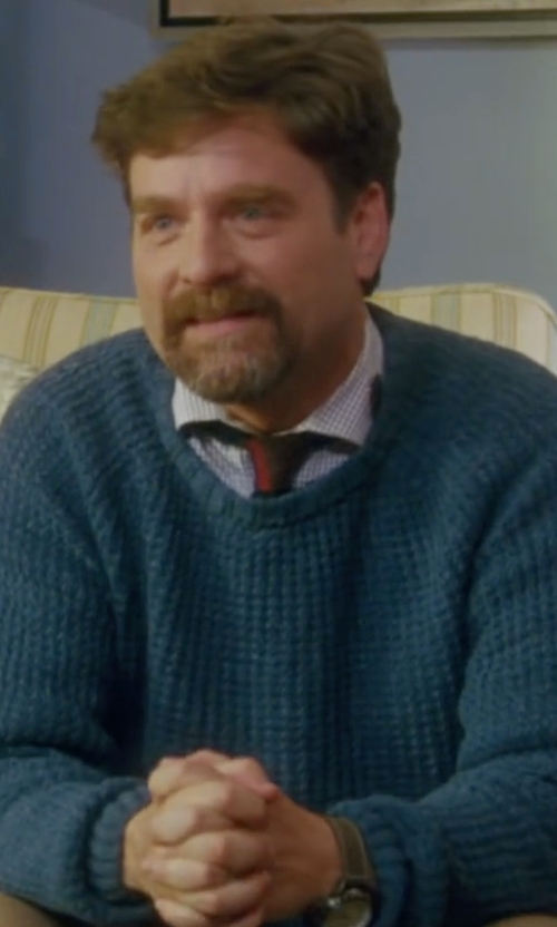 Zach Galifianakis with Tom Ford Melange Cable-Knit Crewneck Sweater in Keeping Up with the Joneses