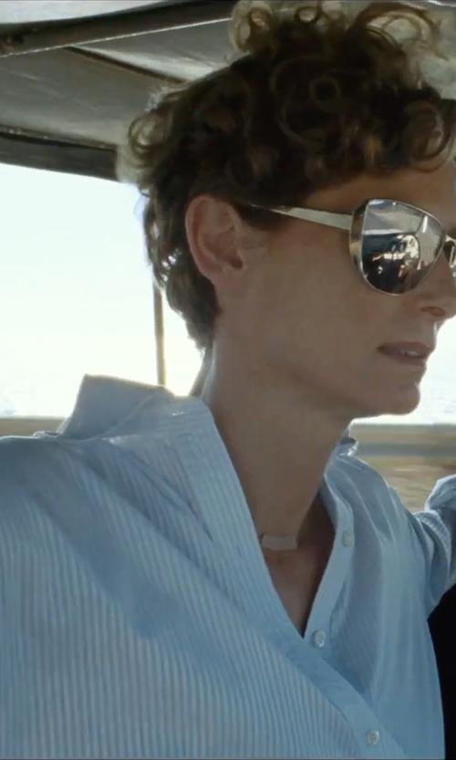 Tilda Swinton with Noisy May Stripe Button Down Shirt in A Bigger Splash