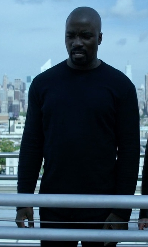 Mike Colter with Rag & Bone 'Avery' Cotton Crewneck Sweater in Jessica Jones