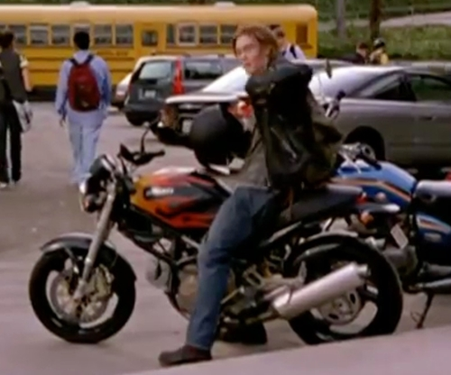 Chad Michael Murray with Ducati 2001 Monster 600 Motorcycle in Freaky Friday