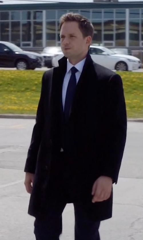 Patrick J. Adams with Miguel Antoinne Raw Edge Neoprene Coat in Suits