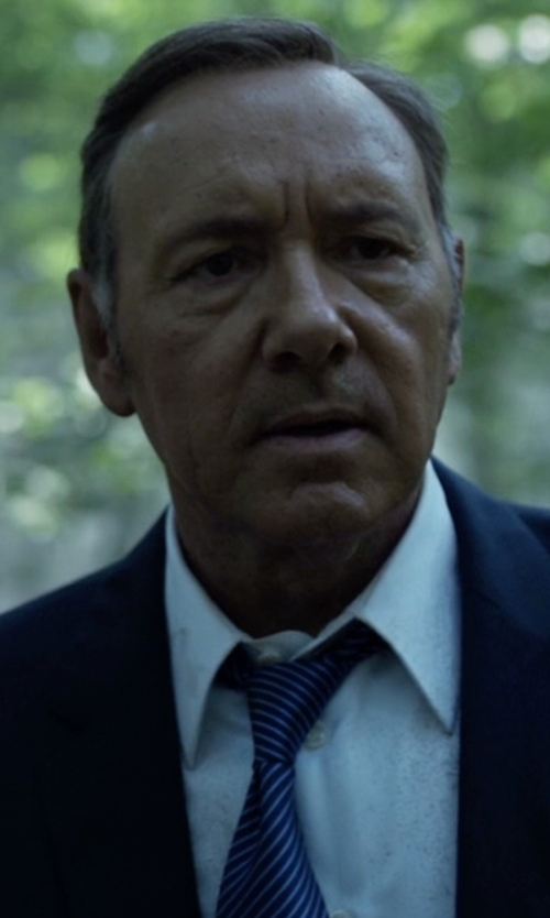 Kevin Spacey with Hugo Stripe Silk Tie in House of Cards