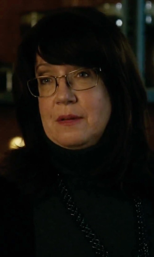 Ann Dowd with Eileen Fisher Wool Shaped Cardigan in Our Brand Is Crisis