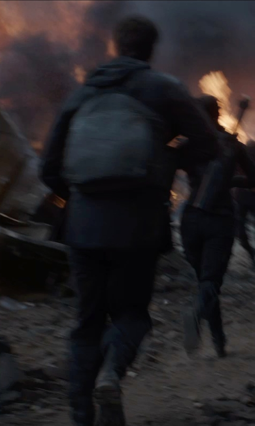 Liam Hemsworth with Frye Wayde Combat Boots in The Hunger Games: Mockingjay Part 1