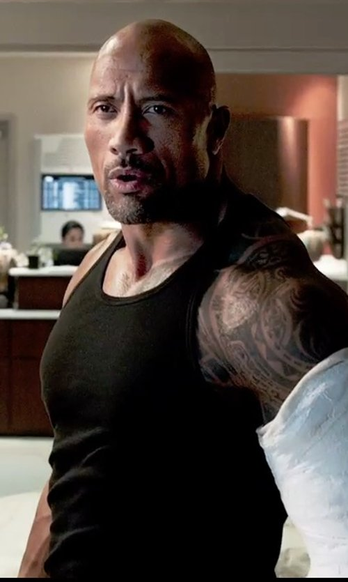 Dwayne Johnson with Rounderbum Men's Compression Muscle Tank Top in Furious 7