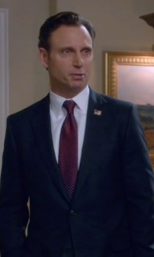 Tony Goldwyn with Ermenegildo Zegna Geometric Silk Tie in Scandal