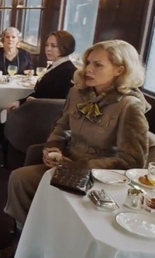 Michelle Pfeiffer with Frame Trench Jumpsuit in Murder on the Orient Express