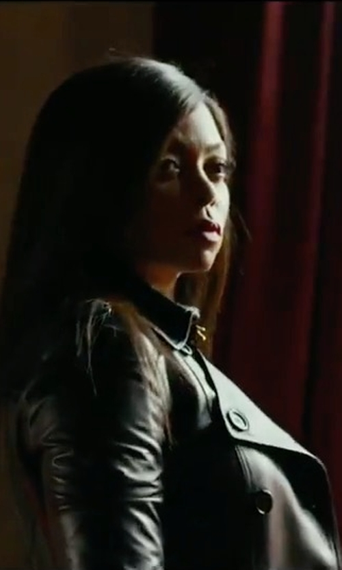 Taraji P. Henson with Robert Rodriguez Leather Trench Coat in Proud Mary