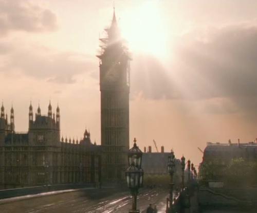 Unknown Actor with Big Ben London, England in Victor Frankenstein