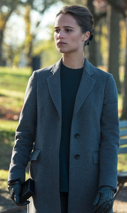 Alicia Vikander with Acne Studios Charles Wool And Cashmere-Blend Coat in Jason Bourne