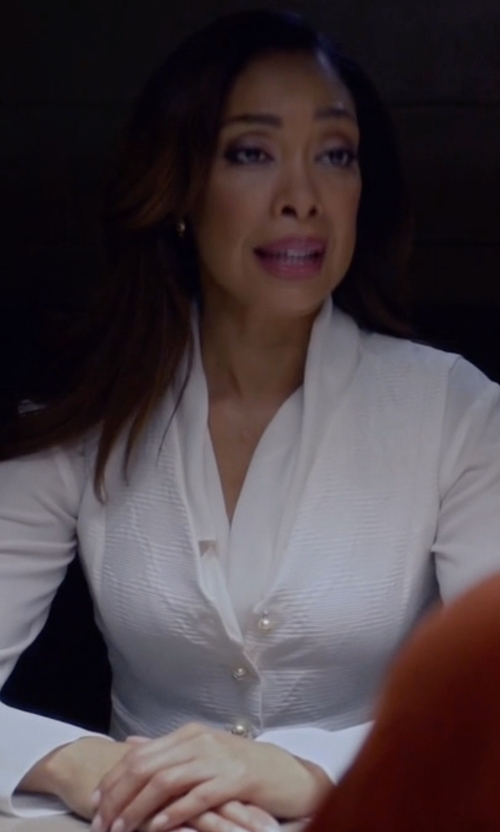 Gina Torres with Armani Collezioni Long-Sleeve Button-Front Poplin Blouse in Suits
