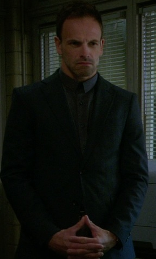 Jonny Lee Miller with Cego Custom Made Micro Dot Dress Shirt in Elementary