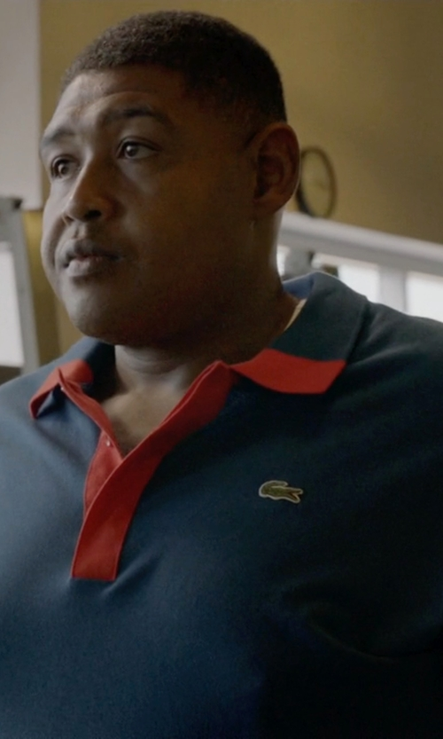 Omar Benson Miller with Lacoste Color Block Mini Pique Polo Shirt in Ballers