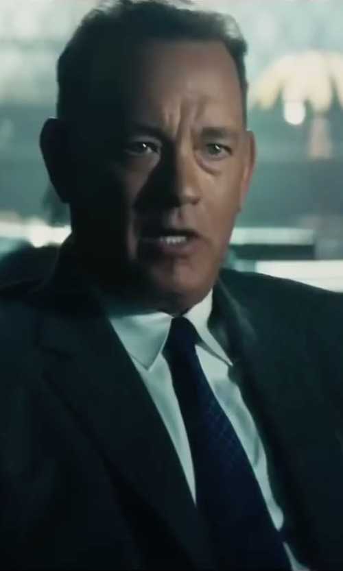 Tom Hanks with Club Monaco Silk Dotted Circle Tie in Bridge of Spies